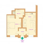 Ground-plan apartment with 1 bedroom