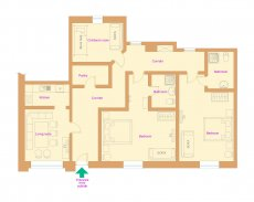 Ground-plan apartment with 3 bedrooms